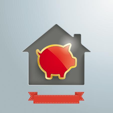 Trou de la maison avec la tirelire d & # 39 ; or et la bannière Banque d'images - 80733536