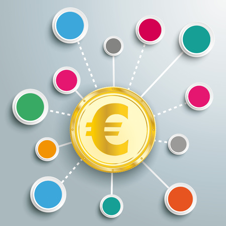 Infographic design with golden Euro coin, network and circles on the gray background.