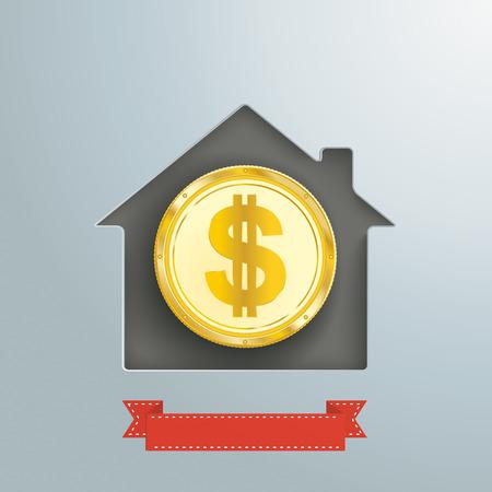 Trou de la maison avec pièce de dollar d & # 39 ; or et bannière Banque d'images - 80733539