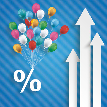 White arrows with balloons and percent on the blue background.