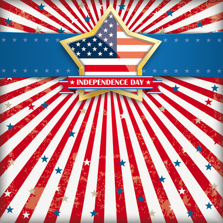 Independence day retro flyer with blue banner and golden star. Illustration