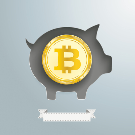 Background design with piggy bank and and golden Bitcoin coin. Illustration