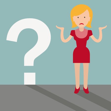 Desperate woman cartoon with a question mark. Illustration