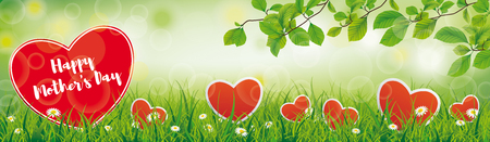 MOthers Day header with hearts in the green nature.