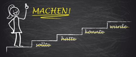 """Deutscher Text """"sollte, haette, koennte, wuerde, Machen!"""", Übersetzen """"sollte, sollte, könnte, würde!"""
