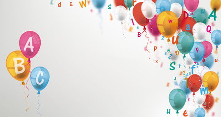 Colored balloons and letters on the gray background. Illustration
