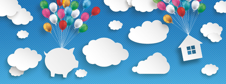 hypothec: Paper clouds and hanging piggy bank and house  with colored balloons on the blue background.