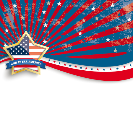 Independence day retro flyer with white emblem. Illustration