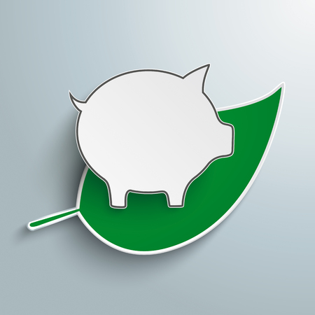 sustainably: Green leave with piggy bank on the gray background. Illustration