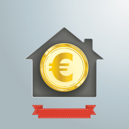 House hole with golden euro coin and banner.