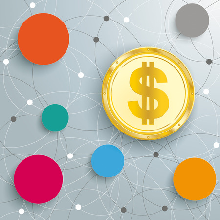 Infographic with circles and golden Dollar coin on the white background Illustration