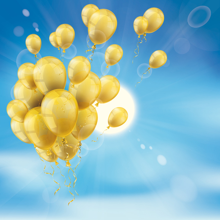 Bunch of golden balloons, clouds, blue sky and sun.