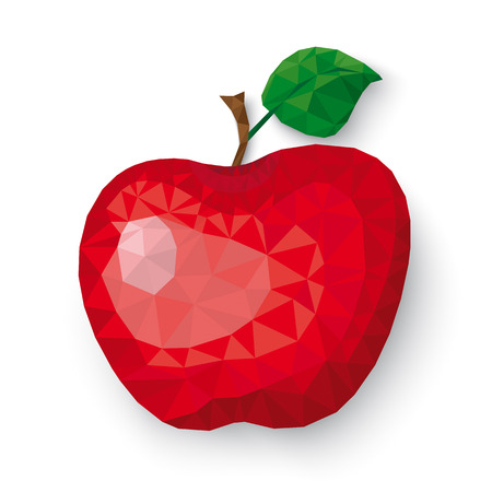 Low poly apple fruit with shadows on the white background.