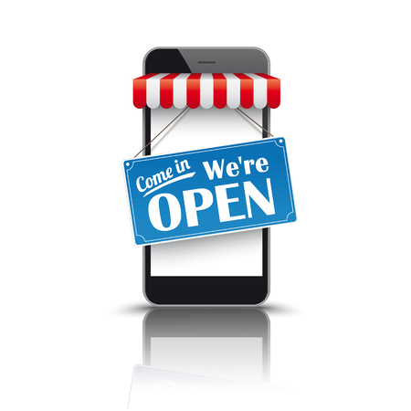 Black smartphone with red white awning and sign Come In We're Open. Reklamní fotografie - 80737241