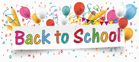 White paper banner with pencils, bunting, balloons, letters and text Back to School. Ilustracja