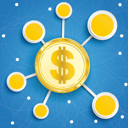 Infographic design with golden Dollar coin on the blue background.