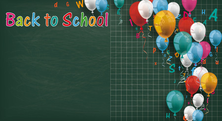scholar: Long blackboard with colored balloons and letters. Illustration