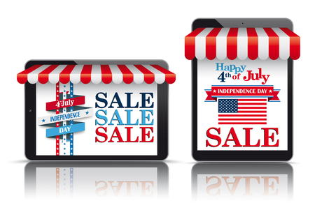 Set of realistic 2 tablets with awnings for the Independence Day Sale.
