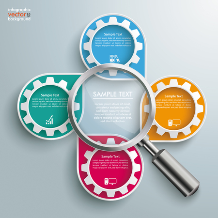 Infographic design white markers, loupe and gears on the gray background.