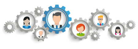 employe: Infographic header with gears and human faces on the white background.