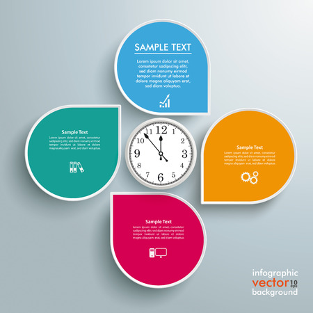 infochart: Infographic design white markers and clock on the gray background
