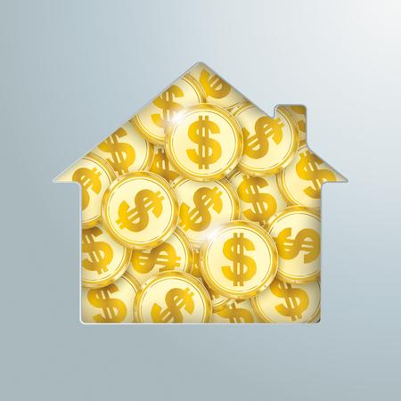 Trou de la maison avec les pièces d'un dollar d'or. Banque d'images - 80737395