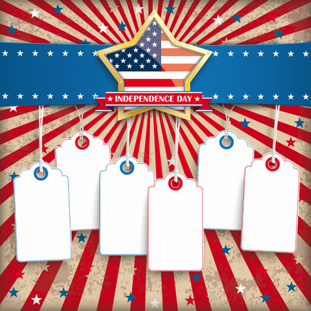 Independence day retro flyer with blue banner and 6 colored price stickers.