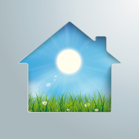 House shape with blue sky with sun and grass in the hole.