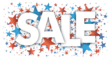 Text sale with blue and red confetti stars.