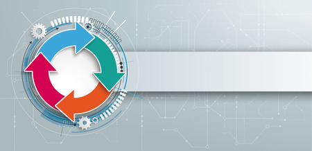 infochart: Futuristic ring cycle with the electronic schematic on and banner on the gray background, vector file. Illustration
