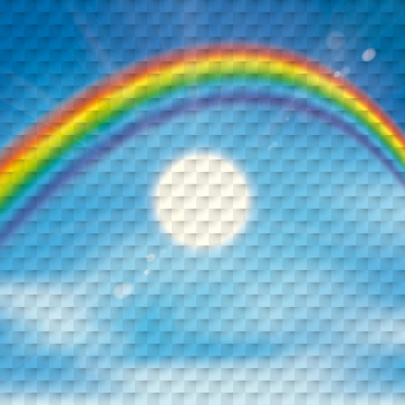 Checkered background with rainbow , clouds, blue sky and sun. vector file.