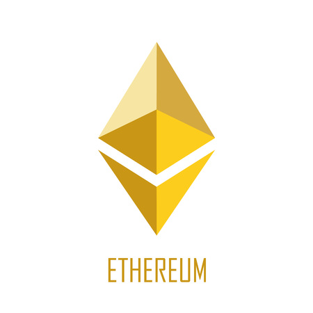 Golden ethereum symbol on the white background. Eps 10 vector file.
