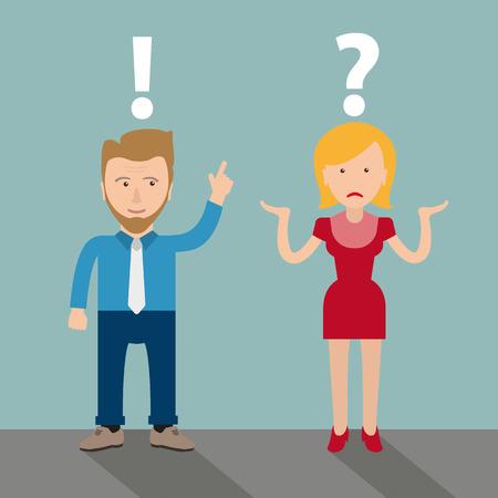 Dibujos animados de hombre de negocios con hombre y mujer y problema de comunicación. Archivo vectorial EPS 10.