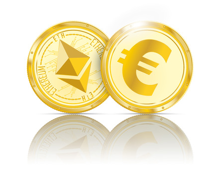 Golden coins ethereum and euro with shadows on the white background.