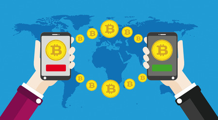 Flat design with human hands, smartphones and golden bitcoins. Eps 10 vector file. Illustration