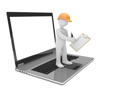 inspector: Notebook with white manikin with orange hardhat and checklist on the white. 3d illustration.  Stock Photo