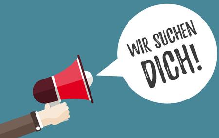 독일어 텍스트 Wir Suchen Dich, 번역 우리는 당신을 원합니다. Eps 10 벡터 파일입니다.