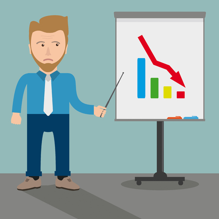 fiasco: White businessman cartoon with a flipchart and downward curve. Eps 10 vector file. Illustration