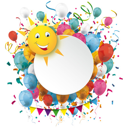 Funny sun face with paper circle, balloons and confetti. Eps 10 vector file. Illustration