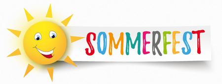 Texto en alemán Sommerfest, traduzca la feria de verano. Archivo vectorial EPS 10. Foto de archivo - 81166313