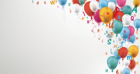 Colored balloons and letters on the gray background. Eps 10 vector file.