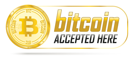 Golden bitcoin coin with frame and text Bitcoin Accepted Here. Eps 10 vector file. Illustration