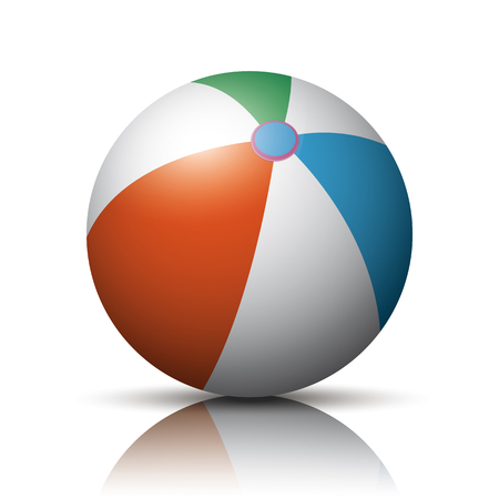 Beach ball on the white mirrored background. Eps 10 vector file.