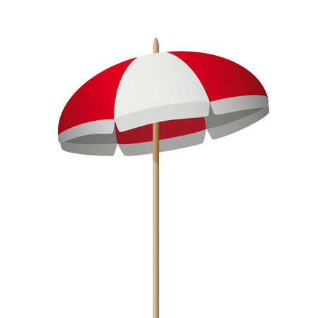 Redwhite sunshade on the white background. Eps 10 vector file.