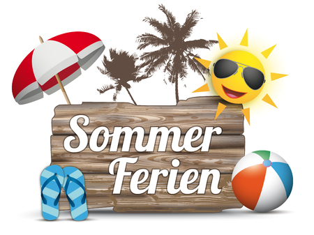 sunshade: German text Sommerferien, translate Summer Holidays.  Eps 10 vector file.