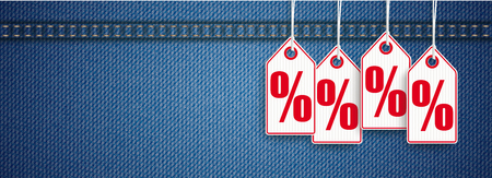 Blue jeans fabric with price stickers and percents. Eps 10 vector file.
