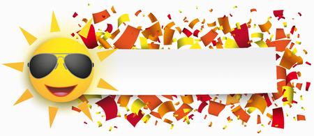 Grappig zongezicht met document banner en confettien. EPS-10 vector-bestand. Stock Illustratie