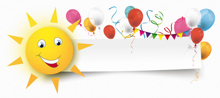 White paper banner with sun face, bunting, balloons and paper streamer. Eps 10 vector file.