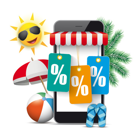 Black smartphone with red marquee, sun, palms, sunshade and colored price stickers with percents. Eps 10 vector file. Illustration