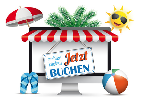 German text Jetzt Buchen, hier klicken, translate Book Now, click here. Eps 10 vector file. Illustration